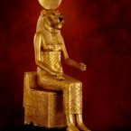 Figure of the goddess Sekhmet enthroned